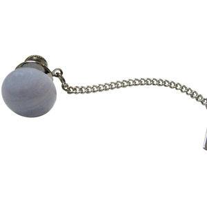 Round Blue Lace Agate Gemstone Tie Tack